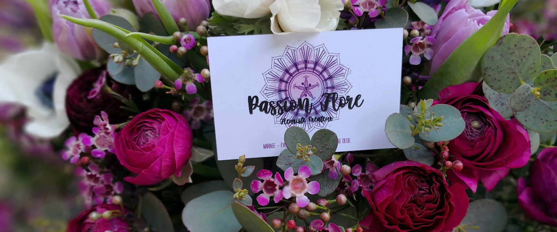 PASSION FLORE - CARTES DE VISITE SUR BOUQUET